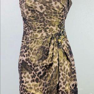 Eliza J Dresses - Eliza J Animal Print One Shoulder Sheath Dress
